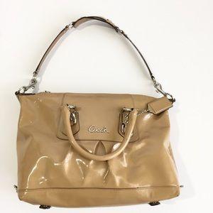 COACH Ashley Satchel Medium Patent Leather Tan